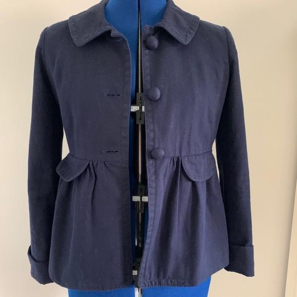 J. Crew Jackets & Blazers - J Crew navy blazer sz 2 w/gathers, covered buttons